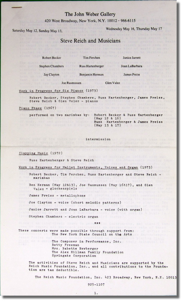 Original Program For Steve Reich and Musicians Performing at the John Weber Gallery