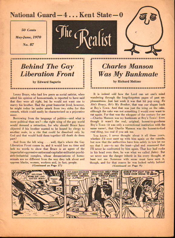The Realist No. 87, May-June, 1970: Behind the Gay Liberation Front and Charles Manson Was My Bunkmate. Paul Krassner.