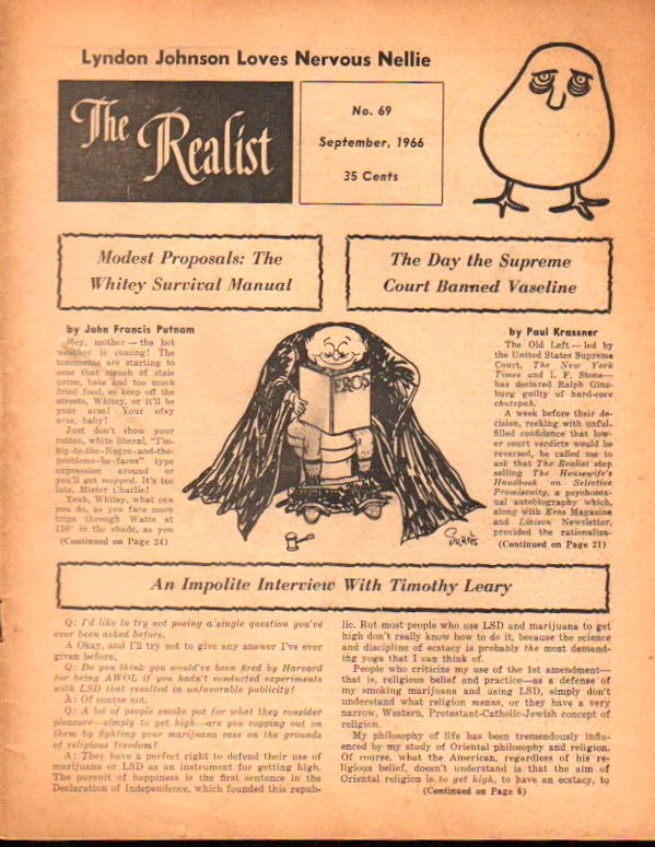 The Realist No. 69, September,1966: Modest Proposals: The Whitey Survival Manual and The Day The Supreme Court Banned Vaseline. Paul Krassner.