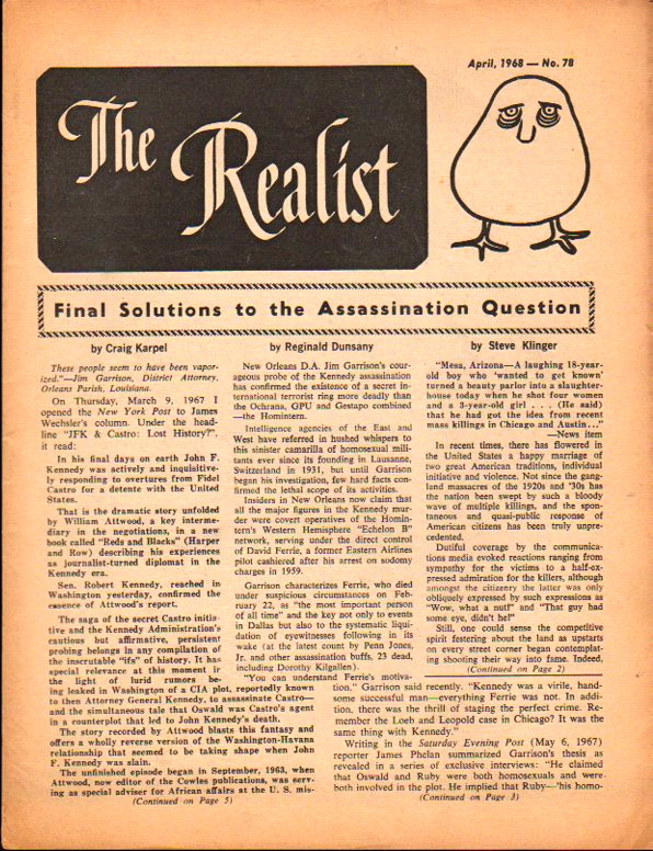 The Realist No. 78, April,1968: Final Solution to the Assassination Question. Paul Krassner.