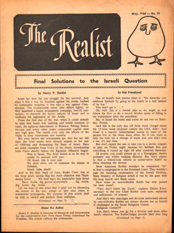 The Realist No. 79, May,1968: Final Solution to the Israeli Question. Paul Krassner.