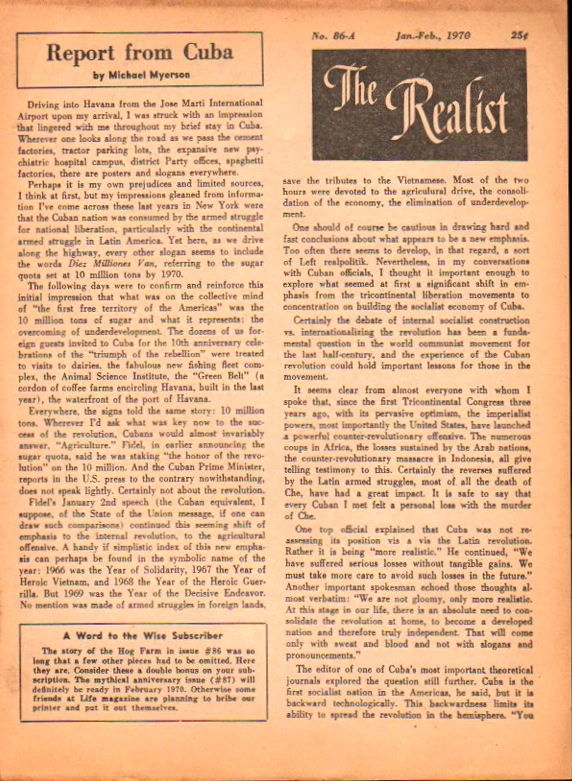 The Realist No. 86-A, January-February, 1970: Report From Cuba by Michael Myerson. Paul Krassner.