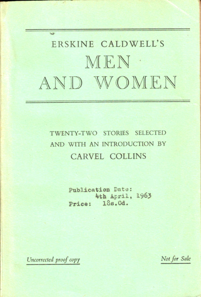Men and Women [Uncorrected Proof of the British Edition]. Erskine Caldwell.