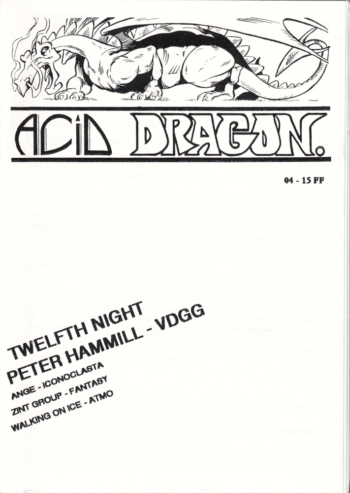 Acid Dragon: Psychedlic and Progressive Rock Issue Number 4. Andre-Francois Ruaud, Thierry Sportouche.