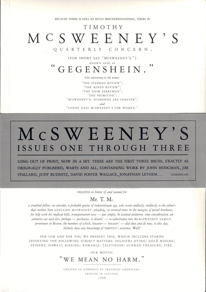 McSweeney's Issues One Through Three. Dave Eggers.