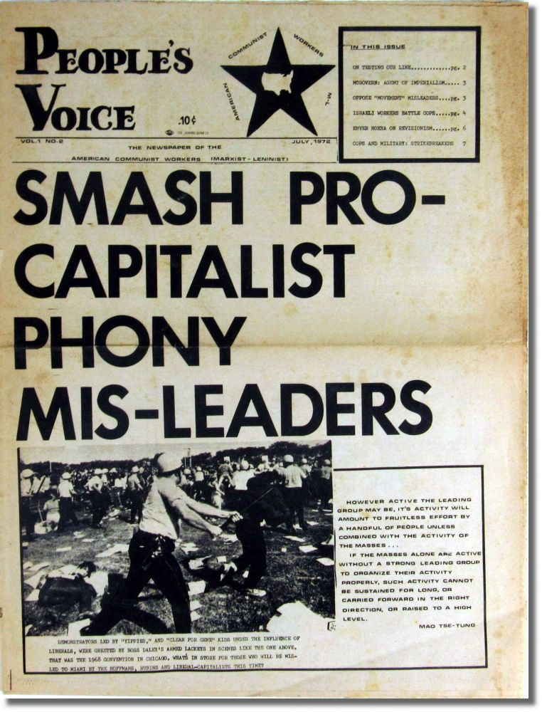 People's Voice: The Newspaper of the American Communist Workers [Marxist-Leninist] Volume One, Number Two July, 1972. American Communist Workers.