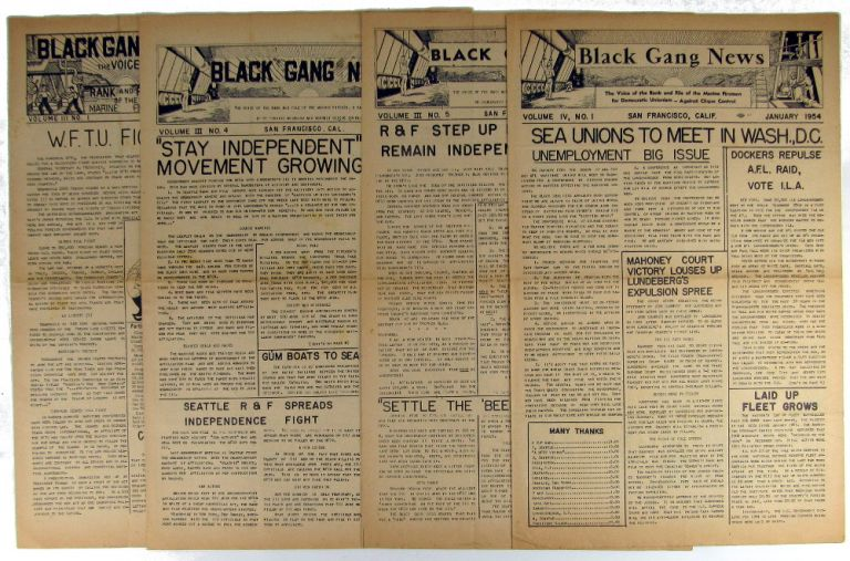Black Gang News: The Voice of Rank and File of the Marine Fireman Volume Three Numbers One, Four and Five; Volume Four Number One. [Broken run of Four Issues]. Oilers Pacific Coast Marine Firemen, Watertenders, Wipers Association.