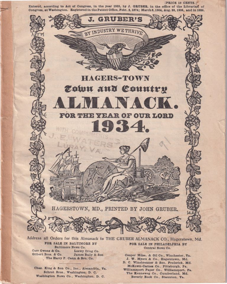 Hagers-Town Town and Country Almanack. For the Year of Our Lord 1934. John Gruber.