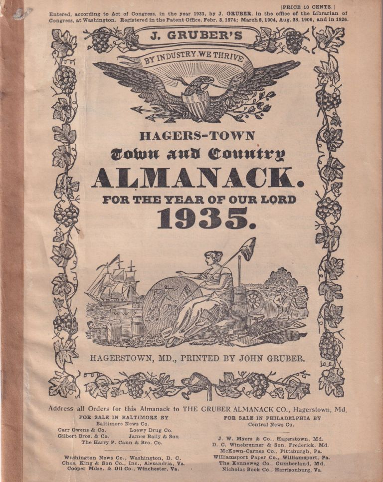 Hagers-Town Town and Country Almanack. For the Year of Our Lord 1935. John Gruber.