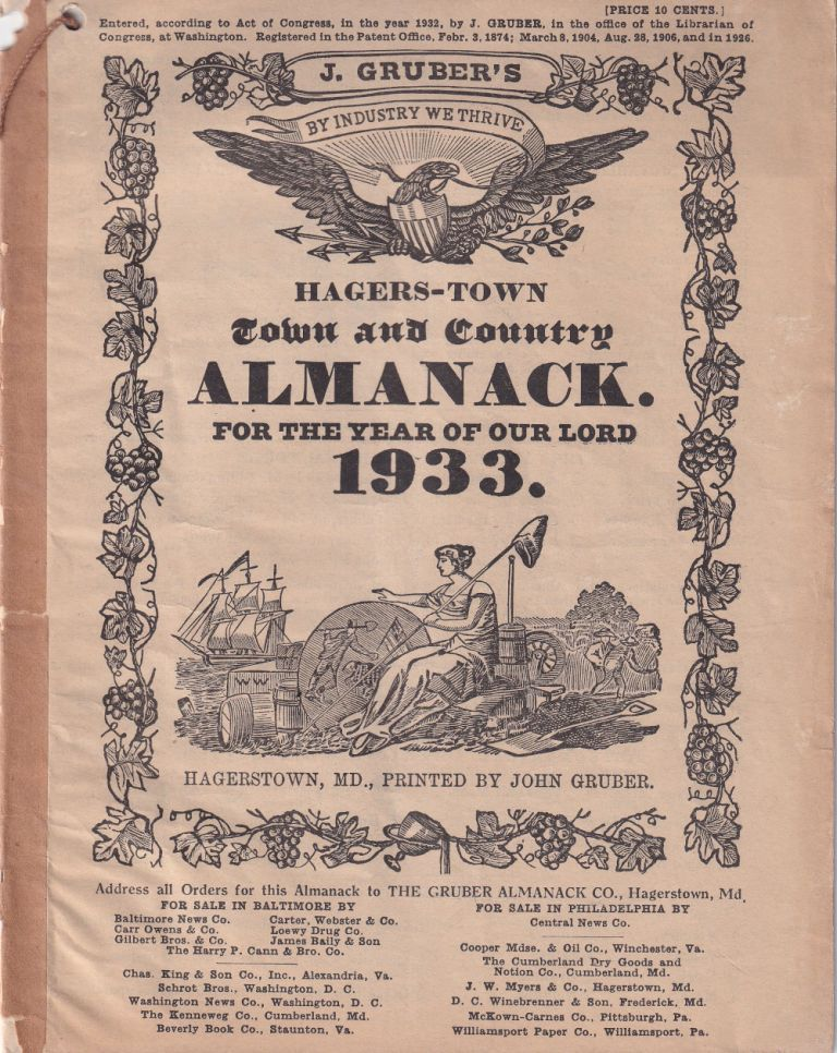 Hagers-Town Town and Country Almanack. For the Year of Our Lord 1933. John Gruber.