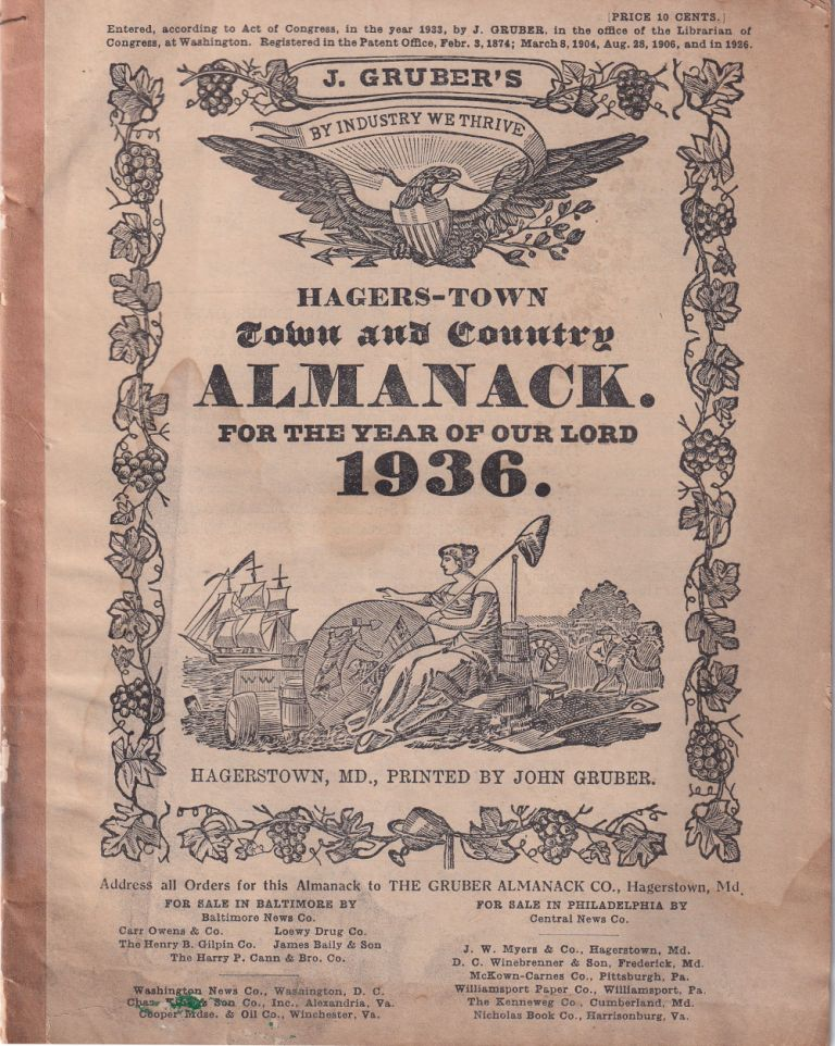 Hagers-Town Town and Country Almanack. For the Year of Our Lord 1936. John Gruber.