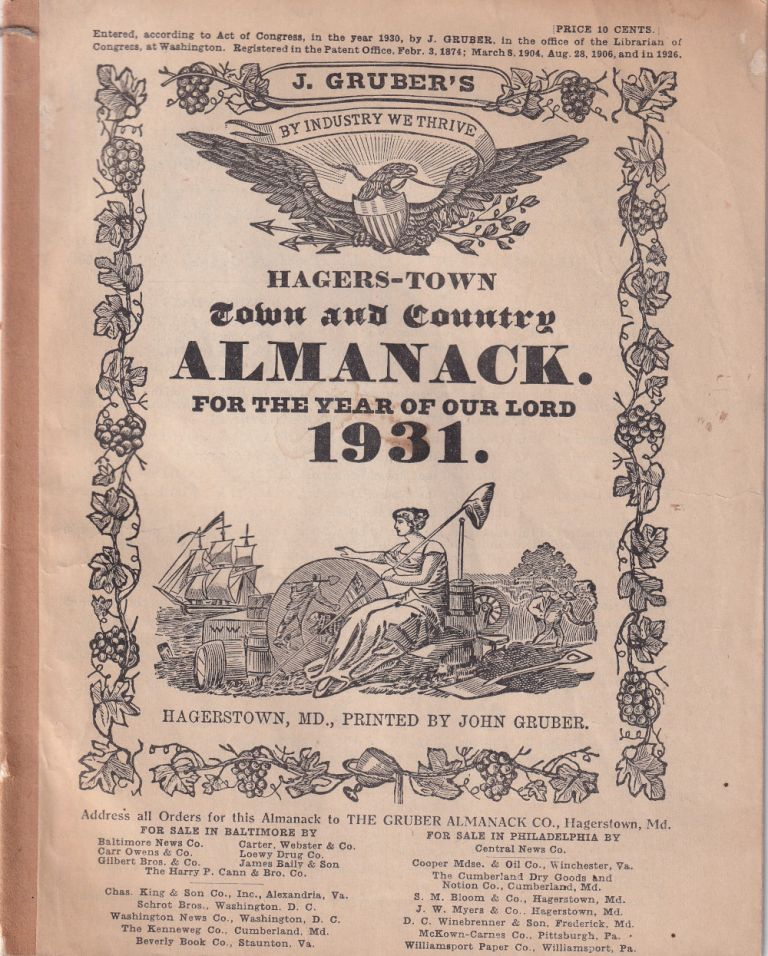 Hagers-Town Town and Country Almanack. For the Year of Our Lord 1931. John Gruber.