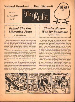 The Realist No. 87, May-June, 1970: Behind the Gay Liberation Front and Charles Manson Was My...