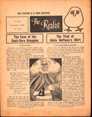 The Realist No. 84, November,1968: The Case of the Cock Sure Groupies and The Trial of Abbie...