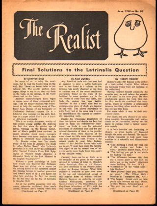 The Realist No. 80, June,1968: Final Solutions to the Latrinaliai Question. Paul Krassner.
