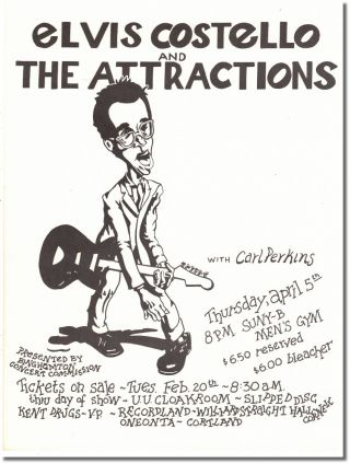 Original Flyer For a 1979 Concert At State University of New York Binghamton. Elvis Costello, the...