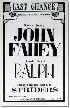 Original Poster For John Fahey Apearing June 4th at The Last Chance. John Fahey.