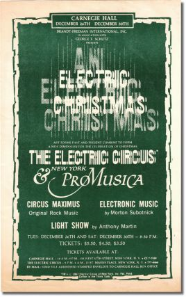 Original Flyer for Electric Christmas at Carnegie Hall. Electric Circus, New York Pro Musica,...